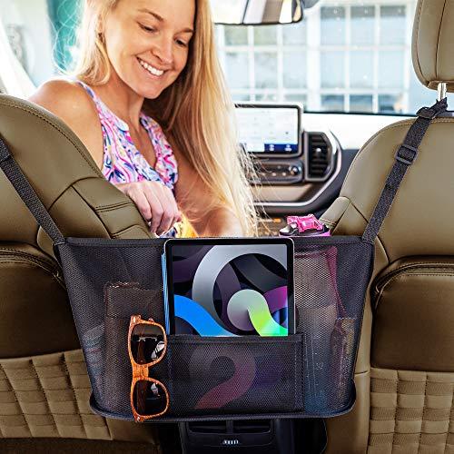 Car Net Pocket Handbag Holder Between Seats - Mesh Purse Holder for Car - Car Seat Storage and Handbag Holder for Car Front Seat - Universal Car Organizer with Tablet Holder
