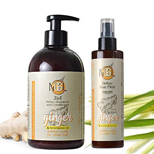 NGGL Veganes Entgiftendes und Entschlackendes Premium-Spa für Haare mit 100% natürlichem Zitronenöl,Ingwerextrakt,2-in-1 Shampoo und Conditioner 500 ml und Texturierendes Haarspray mit Meersalz 200 ml