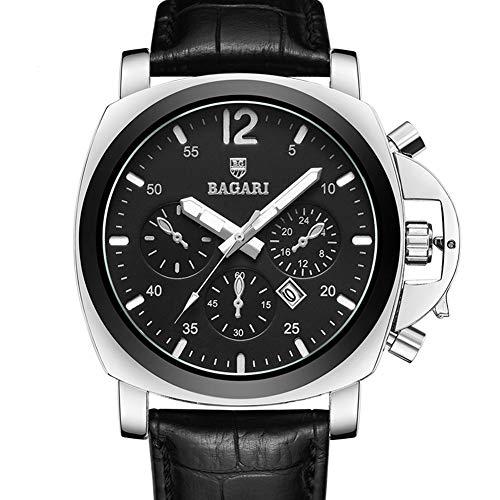 Dilwe Männer Armbanduhr, Sport Modische Stilvolle Beiläufige Männliche Armbanduhr mit Lederband Glas Etui(Silber + Schwarz)