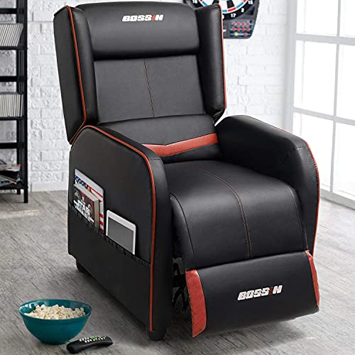 Lemberi Gaming Recliner Chair for Adults PU Leather Home Theater Seating Video Game Chairs for Living Room Ergonomic Racing Style Single Movie Gamer Lounge Sofa Red
