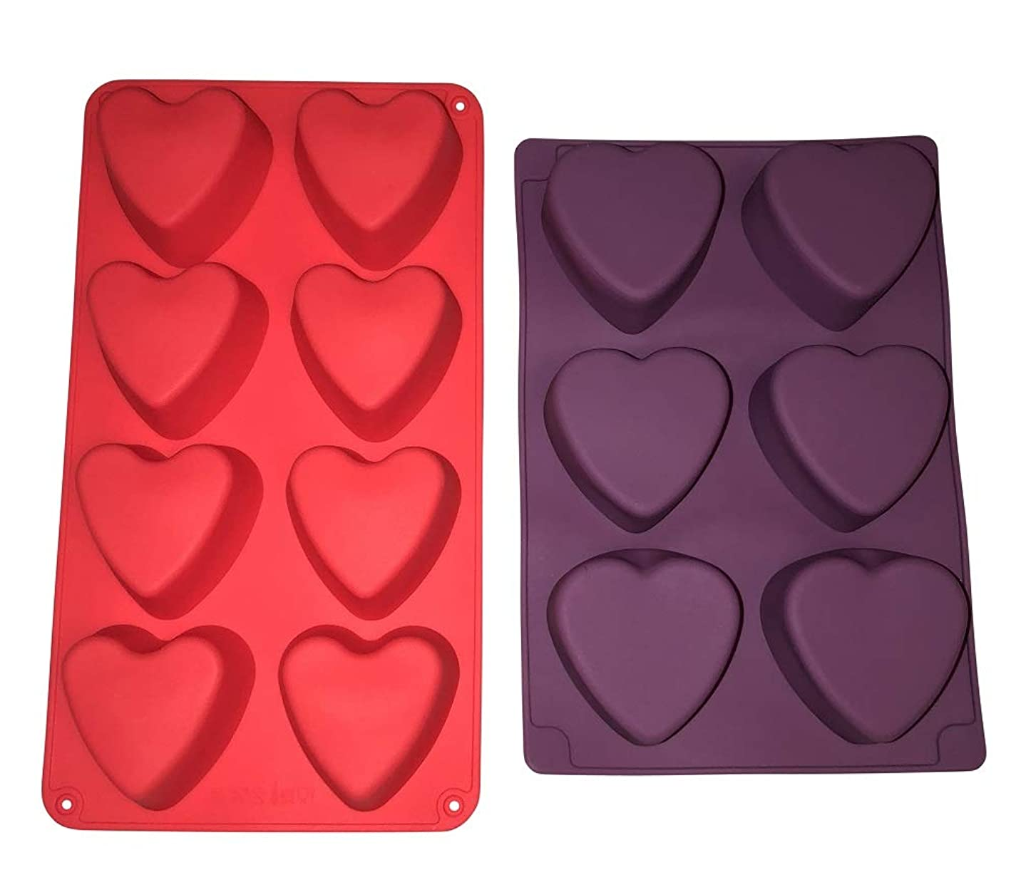 2 Silicone Heart Soap Molds –Valentines Day Holiday Hearts Shaped – Homemade Soaps Cake Bath Bombs – DIY Baked Party Gifts Supplies - Random Colors Baking Bundle by Jolly Jon