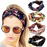 4 Pack Headbands Vintage Elastic Printed Head Wrap Stretchy Moisture Hairband Twisted Cute Hair Accessories (Pink Black Navy Yellow), One Size, Black, Navy, Pink, Yellow