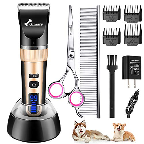Gimars Quiet Rechargeable Cordless Electric Dog Hair Clippers, Powerful Pet Shaver Hair Clippers Dog Trimmers Shears Set with Comb Guides Scissors for Dogs Cats Pets Cat, Horse