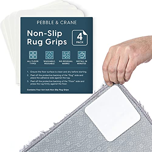 Pebble & Crane Non Slip Rug Gripper - Rug Corner Grippers - No Damage Carpet Tape & Rug Tape Alternative - 4 Pack
