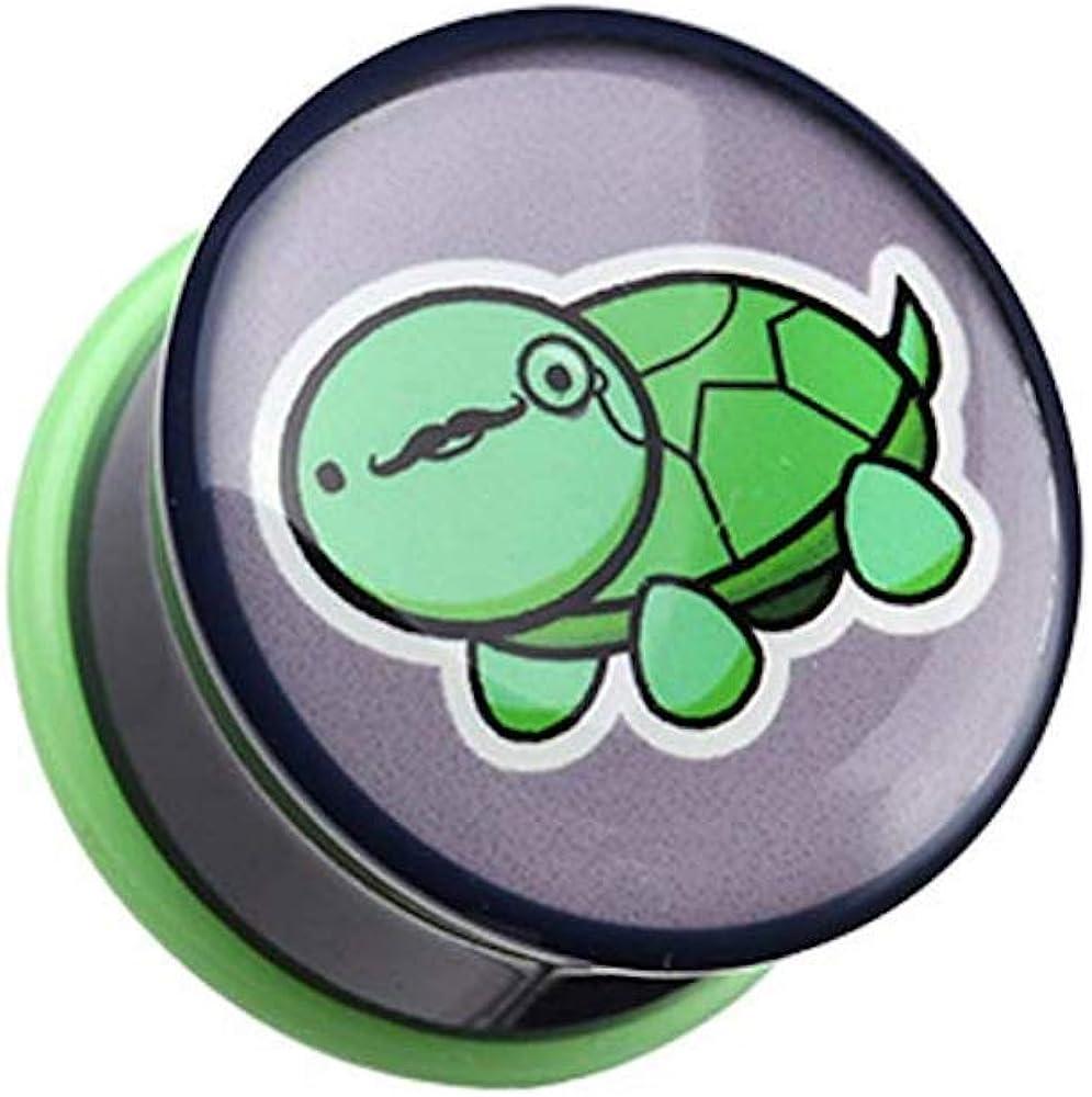Covet Jewelry Detective Turtle Single Flared Ear Gauge Plug