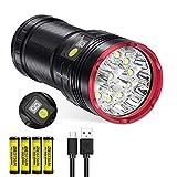 Linterna led recargable, 12000 lúmene linternas de alta potencia Super brillante linterna táctica militar 12 x XML T6 LED Con display de potencia y 4 pilas