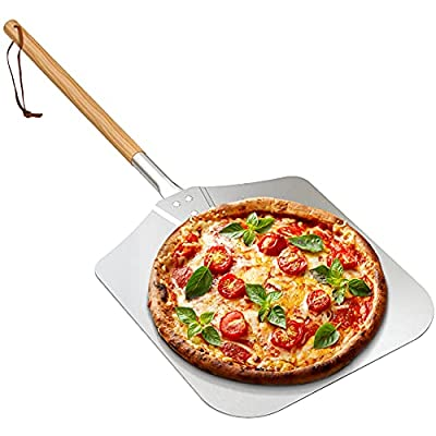 """Onlyfire Large Aluminum Pizza Peel, with Wooden Handle, 12"""" x 14"""" for Baking Handmade Pizza, 36"""" Overall, for Any Outdoor Or Indoor Pizza Grill Oven by only fire"""