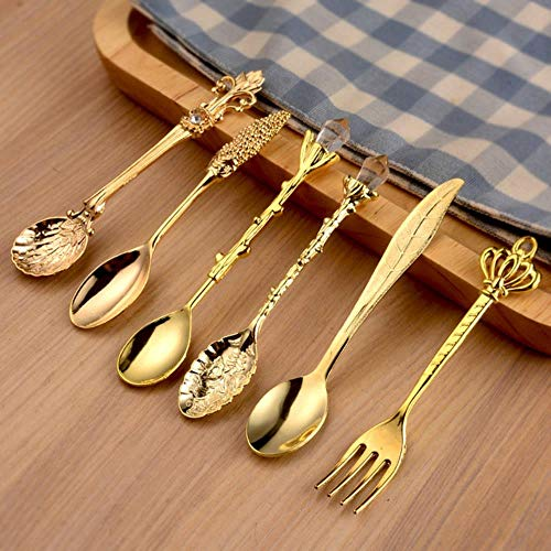 Gancunsh - Juego de 6 cucharas de metal estilo retro con tenedores, tenedores tallados y cucharas de té antiguas