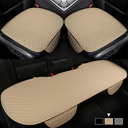 West Llama 3 Pieces PU Leather Car Seat Covers Protectors for Bottoms (1 Pair Front Seat Covers and 1 Rear Bench Cover),Universal Fit Sedan, Pickup, SUV, Van,Black