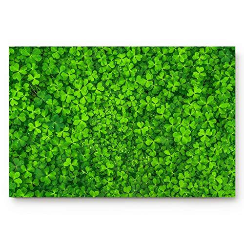 Rember Home Indoor Door Mat Lucky St. Patrick's Day Celtic Knots Shamrock, Non Slip Bath Rugs, Green Floor Doormats Entrance Front Door Rug for Kitchen Bathroom Living Room