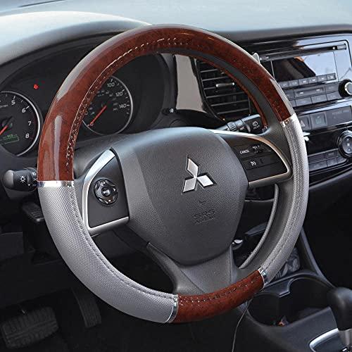 BDK Woodgrain Pattern Dark Wood Steering Wheel Cover, Gray/Dark Wood, Universal 14.5-15.5' (SW-238-GR)