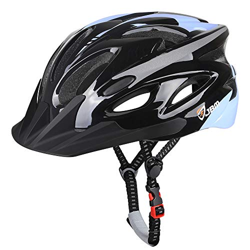 JBM Adult Cycling Bike Helmet Specialized for Mens Womens Safety Protection Red/Blue/Yellow (Black & Blue, Adult)