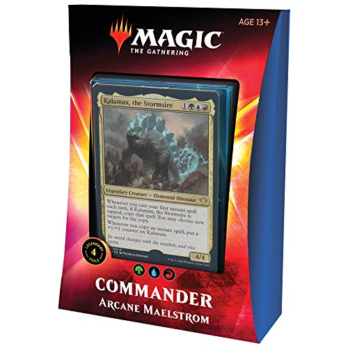 Magic: The Gathering Arcane Maelstrom Ikoria Commander Deck | 100 Card Deck | 4 Foil Legendary Creatures