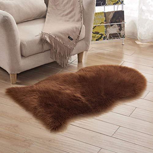 DJ Stoelhoezen van namaakbont, zacht, pluizig universeel, onregelmatige hoogpolig tapijt voor slaapkamer, sofa, vloer, wooncultuur, zitkussen, wit, 60 x 120 cm (24 x 47 inch)