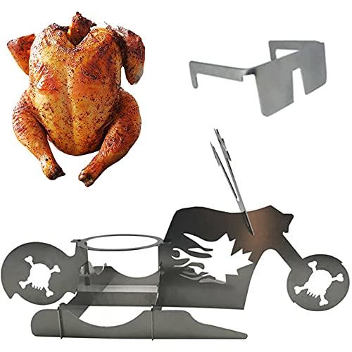 Soporte portátil para pollo, cerveza americana para motocicleta, barbacoa de acero inoxidable con vasos, uso en interiores y exteriores, divertido soporte para pollo para asar (B)