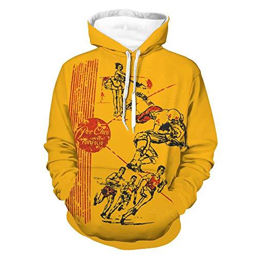 Pee Chee Unisex Pullover Hoodies Sweater Men's and Women's Long Sleeve Sweatshirts Retro Printed Sweater Yellow