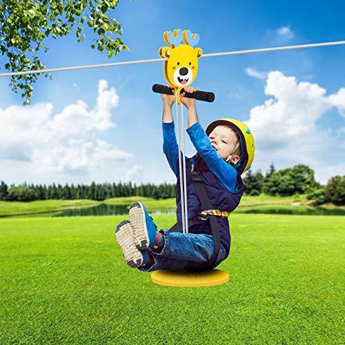 4YANG 6mm Durchmesser Hochleistungsverbundverzinkter Stahl Kabel-Zip-Line-Kit mit Edelstahl-Federbremse und Sitz-ZipLines für Backyard Zipline für Kinder (100ft)