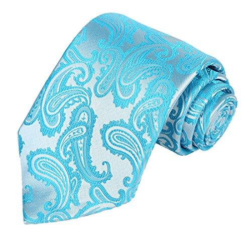 KissTies Paisley Tie Pale Glacier Ice Blue Necktie in Gift Box