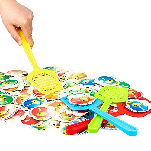 Hellery Sight Words Swat Spiel mit 4 Fliegenklatschen von Pre K bis zur 3. Klasse Lernspiele für Kindergartenklassen