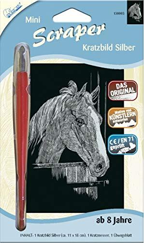 MAMMUT 130003 - Kratzbild, Motiv Pferd, silber, glänzend, mini, Komplettset mit Kratzmesser und Übungsblatt, Scraper, Scratch, Kritzel, Kratzset für Kinder ab 8 Jahre