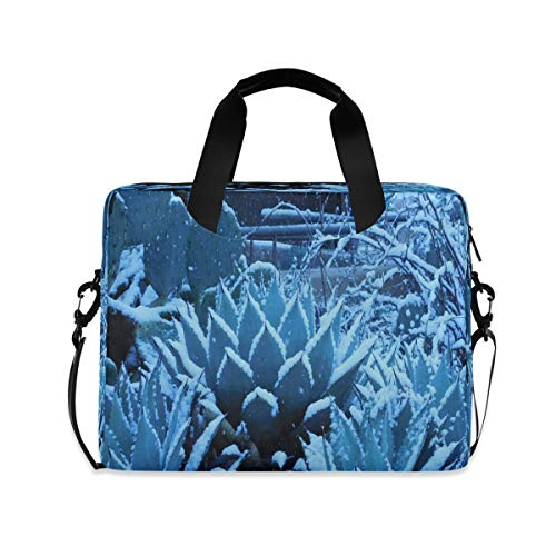 Agave Plant Covered with Snow Unique Laptop Case 15.6 Inch Computer Carrying Protective Case with Strap Bag