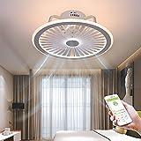LED Ventilatori a Soffitto con Lampada e Altoparlante Bluetooth, Musica Cellulare APP Controllo Silenzioso Invisibile Fan Plafoniera Dimmerabile per Soggiorno Bambini Camera Da Letto Ufficio VOMI