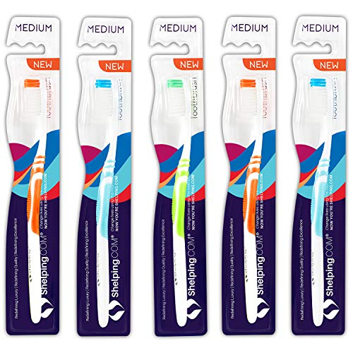 Shelping Premium Adult Toothbrush - Medium Bristles with Built-in Tongue Cleaner (Pack of 5)