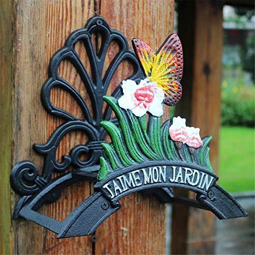 HEMFV Cast Heavy Duty Fer de Jardin Porte-Tuyau, Mural for Tuyau, Papillon décoratif avec Panneau de Bienvenue Hose Hanger, Antique Décorations for Jardins