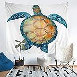Tapiz de tortuga marina para colgar en la pared para niños adultos bajo el agua animal manta de pared impresa en 3D reptil acuario Sealife Seaworld blanco decoración de pared grande 58 x 79
