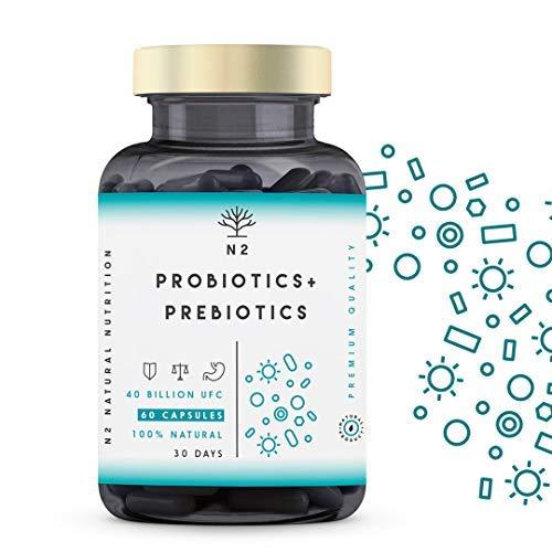 PROBIOTICI e PREBIOTICI INSIEME. Fermenti lattici. Enzimi digesti, 40 miliardi di Batteri Probiotici Naturali con Inulina. Protezione di Flora Intestinale. 60 Capsules N2 Natural Nutrition