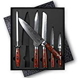 Zelancio Premium 6-Piece Hammered Japanese Steel Knife Set with High Carbon Core...