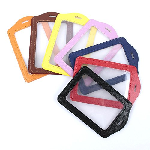 ISKYBOB Set of 14 Vertical Colorful Faux Leather Business ID Badge Card Holder,Not Included Neck Strap