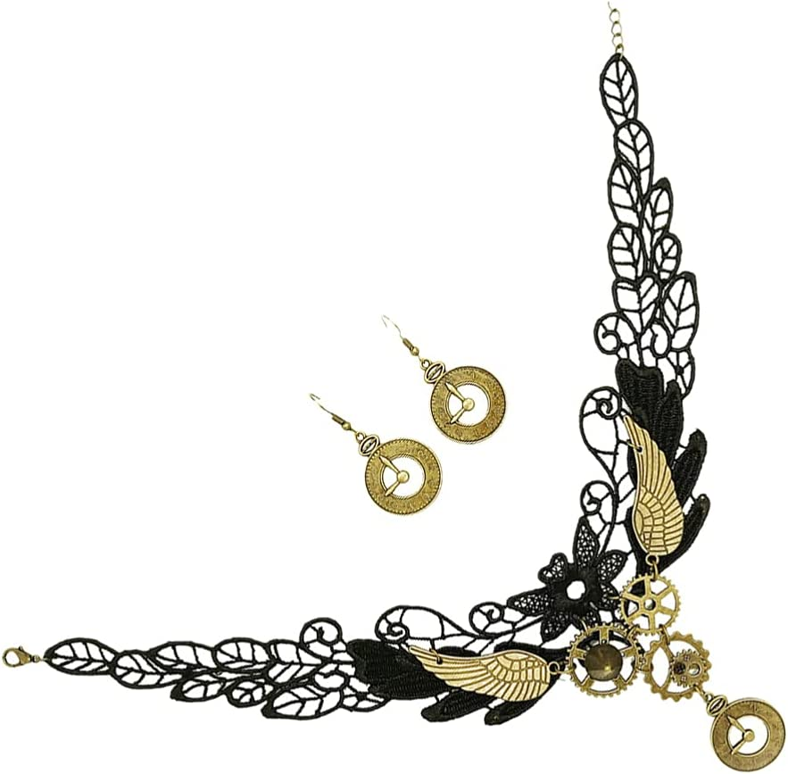 Generic Lace Choker Gothic Necklace Vintage Earring Steampunk Gear Collar Choker Necklace Halloween Costume Accessories for Women Girls Black 3Pcs