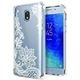 Case for Samsung Galaxy J7 2018, Galaxy J7 Refine, J7 V, J7 Star, J7 Aero, J7 Top, J7 Crown, J7 Aura for Girls Women Clear with Lace Flowers Design Shockproof Bumper Protective Cell Phone Back Cover