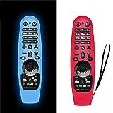 NANTING 2PCS Estuche actualizado LG Smart TV Remote Control para LG AN-MR600 / LG AN-MR650 / AN-MR18BA / AN-MR19BA, Estuche de Silicona anticaída/Antideslizante/Rayado/Polvo/Agua(Azul + Rojo)