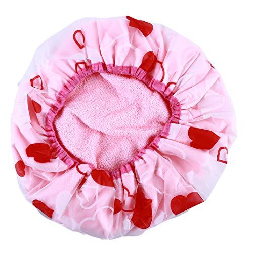 HNCE Bonnet de Bain Capuchon de Bain élastique imperméable pour Salon de Spa de Douche pour Femmes, Style Coeur d'amour