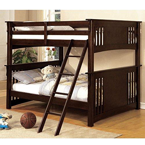 Hot Sale New Mission Dark Walnut Finish Wood Full Over Full Bunk Bed