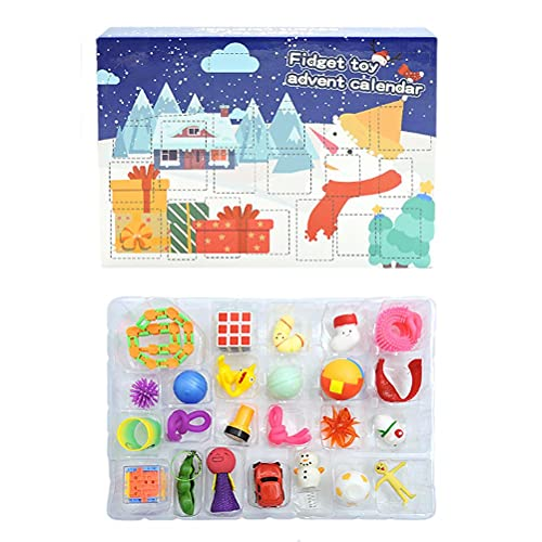 top toys for children in 2021 KALNUR Fidget Advent Calendar 2021 Christmas Countdown Calendar 24 Days Cheap Sensory Fidget Toys Set Novelty Decorations Gift Boxes for Kids Adults Stress Relief and Anxiety (B)