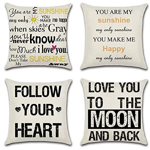 JOVEGSRVA Juego de 4 fundas de almohada decorativas con letras negras de 45 cm x 45 cm, fundas de almohada para sala de estar, sofá, cama, fundas de almohada