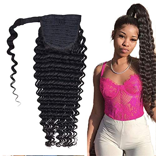 USEXY Deep Wave Ponytail Human Hair Brazilian Remy Clips In Human Hair Extensions For Black Women Wrap Around Ponytail Extension(16inch)