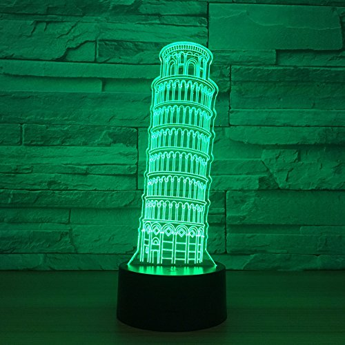 ANHHWW 3D Leaning Tower of Pisa Night Light for Kids, Best Birthday Holiday Gift for Boys and Girls, 7 Colors Change Touch Control Light, Led Illusion Lamp with Remote Control for Children' S Bedroom