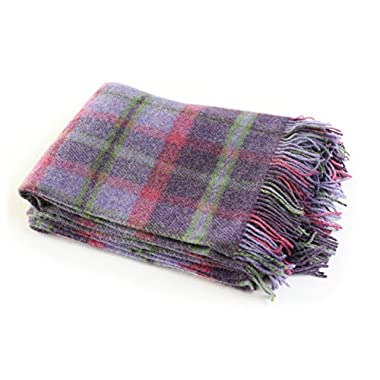"John Hanly Plaid Throw Blanket Purple Wool 75"" x 54"" Ireland Made"