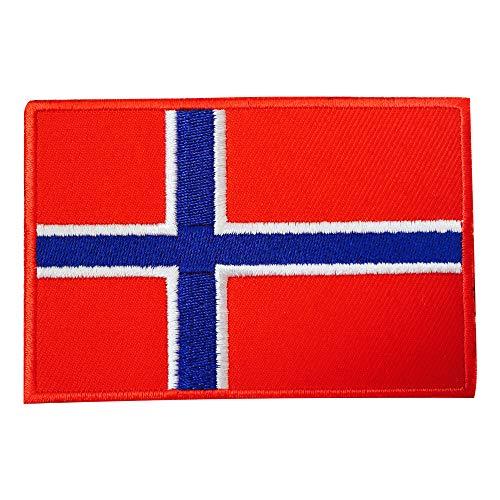 Parche bordado con bandera nacional de Noruega para coser y coser