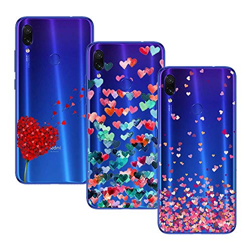 Young Ming (3 Pack) Funda Para Xiaomi Redmi Note 7/ Redmi Note 7 Pro, Transparente Ultrafina Carcasa Case Cover, Amor