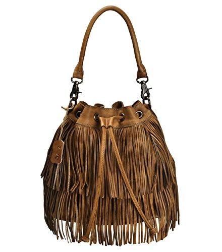 Leather Fringe Bucket Bag