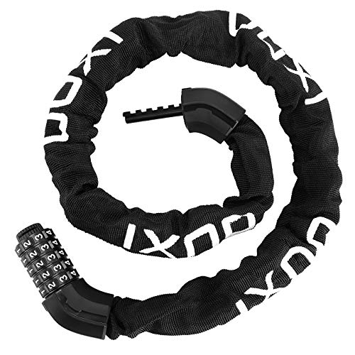 OUXI Bike Lock, 8mm Bike Chain Lock 5-Digit Resettable Combination Anti-Theft Bicycle Chain Lock for Bicycle Motorcycle Scooter and More(Black)