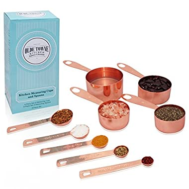 Olde Towne Kitchen Measuring Cups and Measuring Spoons (9-Piece Set) | Copper-Plated Stainless Steel | Magnetic, Nesting cups | 2 Ring Clips | Liquid or Dry Measuring cup set | US and ml Measurements