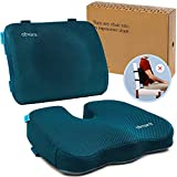 Elmara Support Cushion Set - Designed by a Physician with Ideal Thickness for Lower Back - Memory Foam Coccyx Seat Cushion for Back Pain - Lumbar Support Pillow for Car - Office Chair Back Support