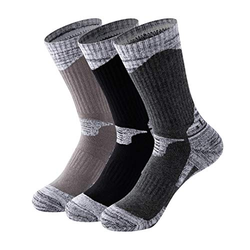 MAIBU 1 OR 3 Pairs Men 's Cushioned Hiking Walking Running Socks, Outdoor Athletic Cotton Crew Socks