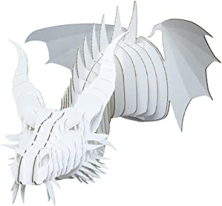 Cardboard Safari Recycled Cardboard Animal Taxidermy Dragon Trophy Head, Nikita White Medium